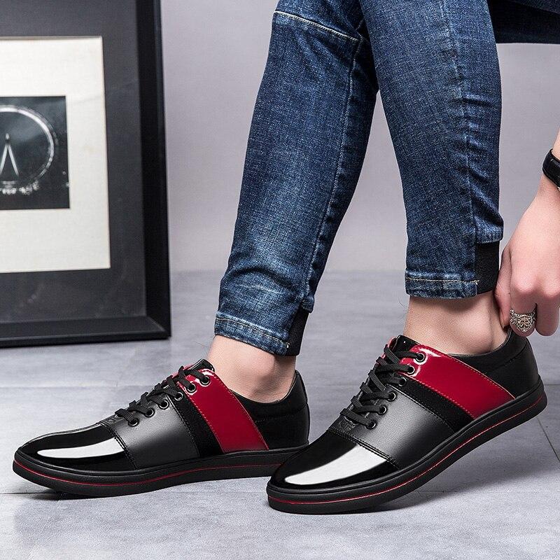 Vaca Costura Up Sapatos De Moda Red Homens Verão Genuíno Para White Nova Couro black Classic Flat Black Homem Primavera Sapato Lace Masculina Casuais 2019 qI8wz7wa