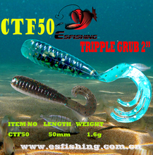Lure bait 10pcs 5cm/1.6g Esfishing TRIPPLE Grub Fishing lures Soft Lure Crankbait Smell Tackle Isca Leurre Sea Fishing
