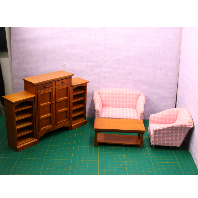 A02-X032 children baby gift Toy 1:12 Dollhouse mini Furniture Miniature rement pink sofa living room set