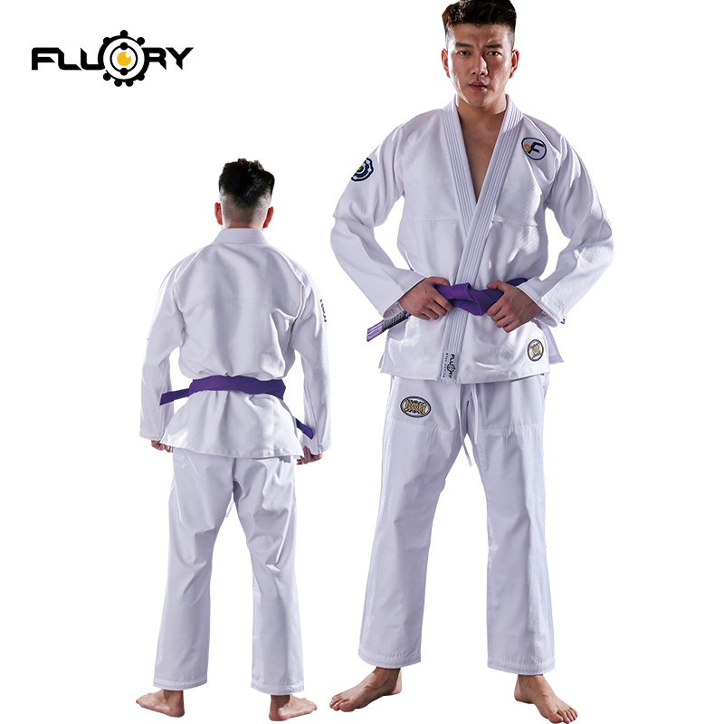 Fluory new design bjj gi customed and instock brazilian jiu-jitsu gi woven label patches on judo gis image