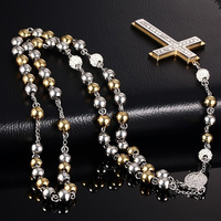 Men S Two Tone Stainless Steel Rosary Beads Long Necklace With CZ Crystal Crucifix Cross Pendant