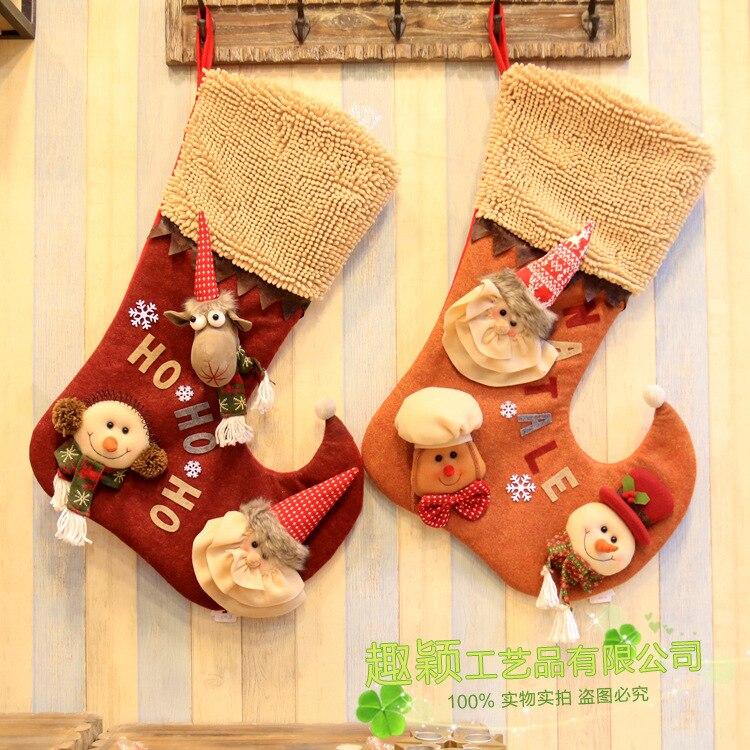 Sacs à provisions de bande dessinée mignon hiver beaux sacs de bonbons chaussettes en forme de sacs de wapiti de noël sacs cadeaux pour enfants chaussettes à provisions