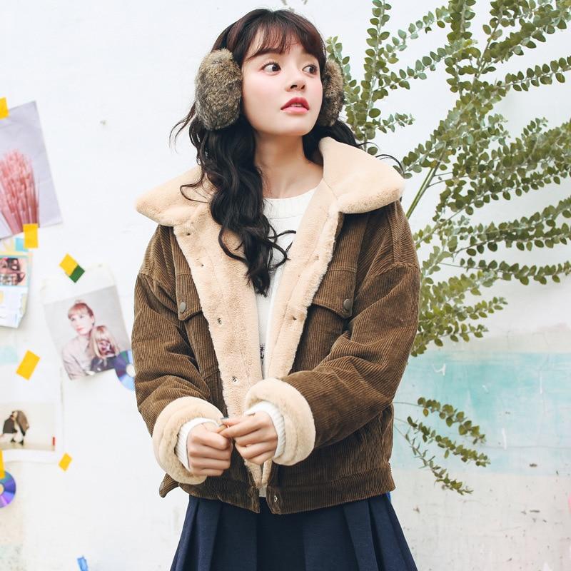 Hiver décontracté marron velours côtelé à manches longues col de revers veste simple boutonnage basique femmes mode à manches longues veste chaude