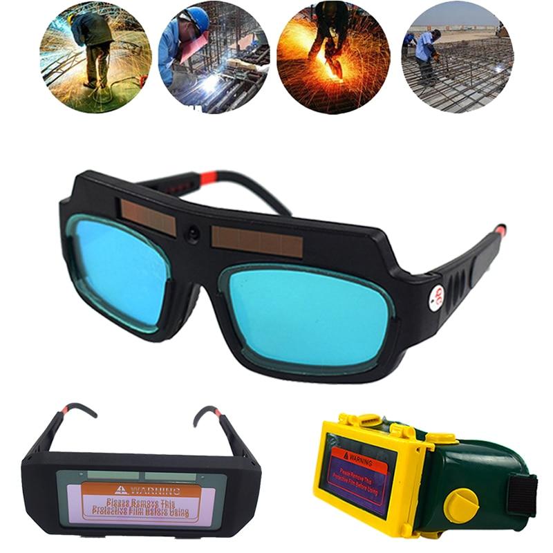 Lunettes de soudage à assombrissement automatique à énergie solaire LCD Protection éclaircissante soudage à l'arc sous Argon coupe de gaz lunettes de sécurité Protection des yeux