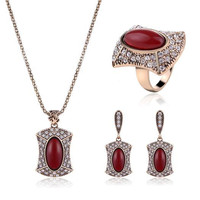 SHUANGR Jewelry Sets Rhinestone Square Necklace Earring Ring Gold Plated Turks Specie Arab Africa Middle East