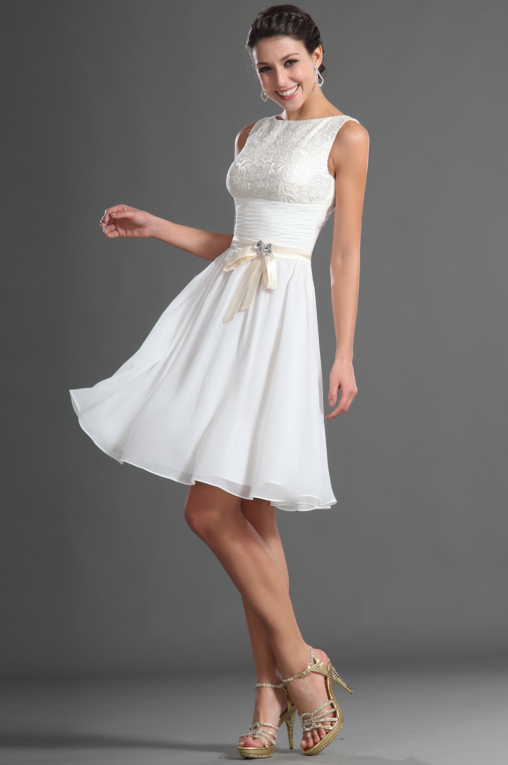 7fb485a46cca Homecoming Dresses 2014 Fresh Scoop A Line Knee Length White Chiffon Lace  Ribbon Sash Ruched Bow Short White Graduation Dresses -in Homecoming Dresses  from ...