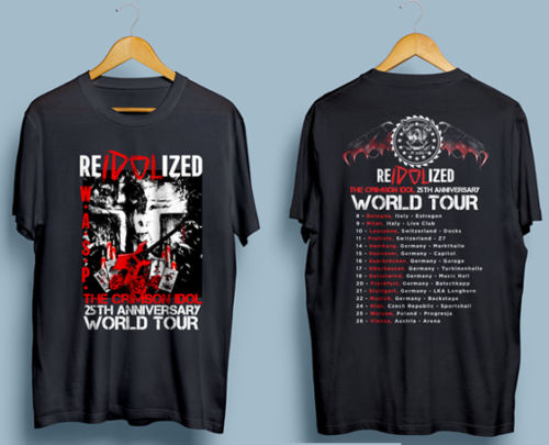 W.A.S.P. Reidolized The Crimson Idol World Tour 2017 T shirt Men WASP two sides cotton casual gift tee USA Size S-3XL