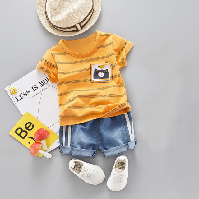 Baby Boy Suit Set Kids Summer Outfit Toddler Baby Stripe Cotton Clothing Set Cute Cartoon Children Boys Clothing T-Shirt+Shorts
