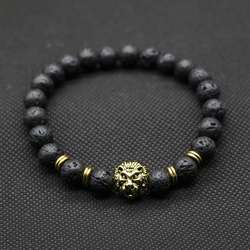 Wholesale antique gold plated buddha leo lion head bracelet black lava stone beaded bracelets for men.jpg 250x250