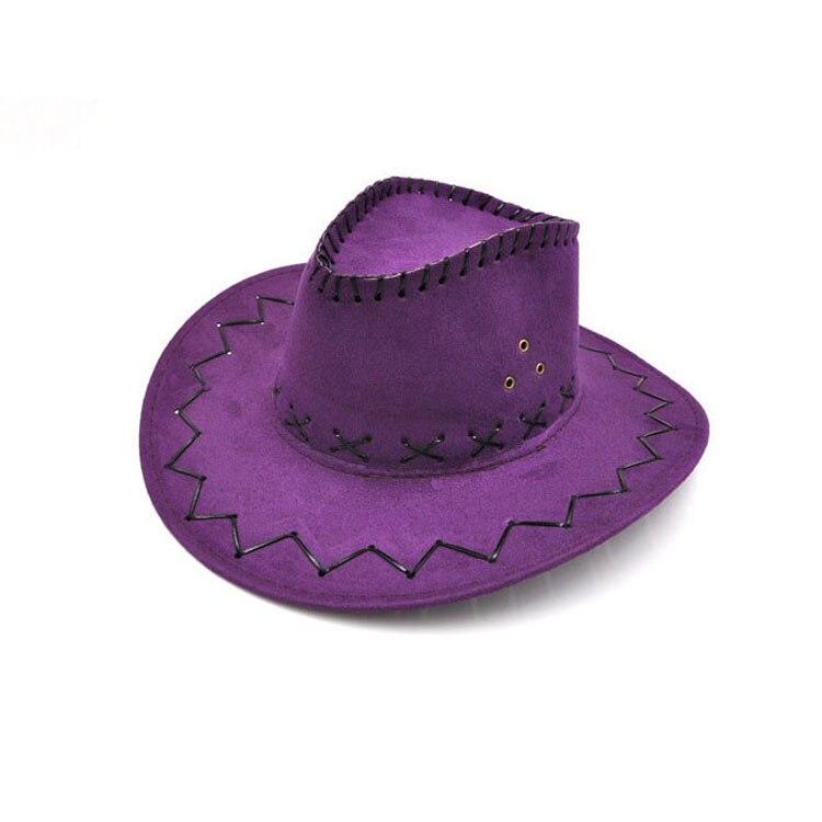 100pcs/lot Wide Brim Cowboy Hat Suede Look Wild West Fancy Dress Men Girls Solid Colors Gorros Cap Women's Hats Chapeau Femme 10