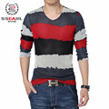Free shipping Size 5XL Men T Shirt Striped England Style Fashion Classic V Neck Camisetas 2015 New Men Cotton Red Blue T shirt