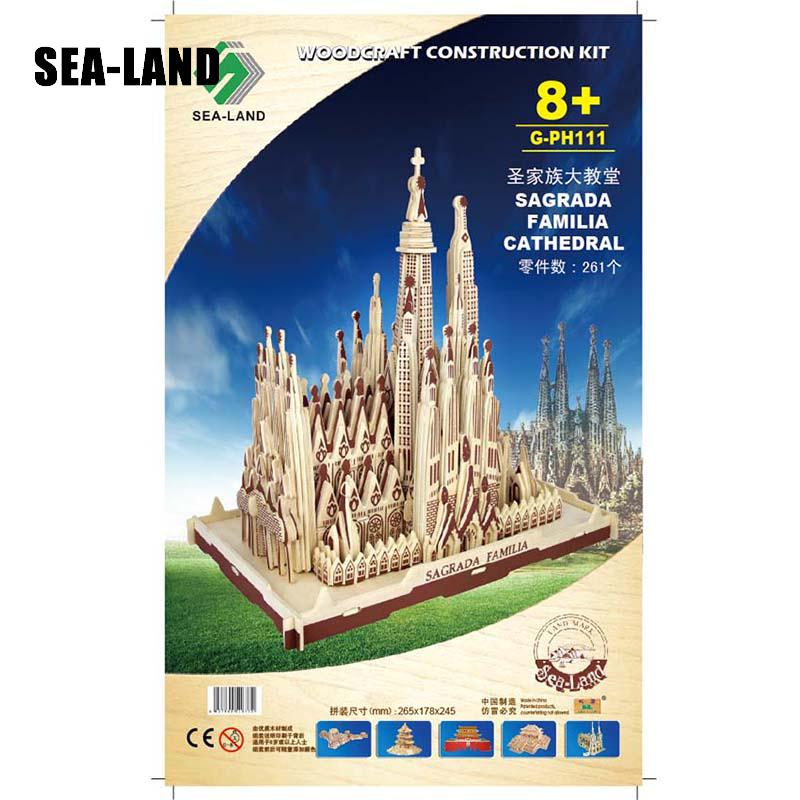 Livraison directe 3D Puzzle en bois enfants modèle adulte la Sagrada Familia un jouet pour enfants de célèbre série de construction meilleur cadeau pour les enfants - 6
