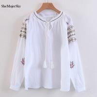 SheMujerSky Yellow Embroidery Blouse V Neck Women Shirts Tassel Bandage Tops Elegant Long Sleeve Blusa