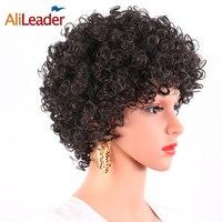AliLeader 150 Densidad Afro Jerry Rizado Bouncy Peluca Kanekalon máquina Hecha Peluca Para Mujeres Blancas Y Negras Cortas Sintéticas peluca
