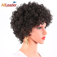 AliLeader 150 Densidade Afro Jerry Encaracolado Saltitante Peruca Cheia do Kanekalon máquina Feita Peruca Para Mulheres Negras E Brancas Sintéticas Curtas peruca