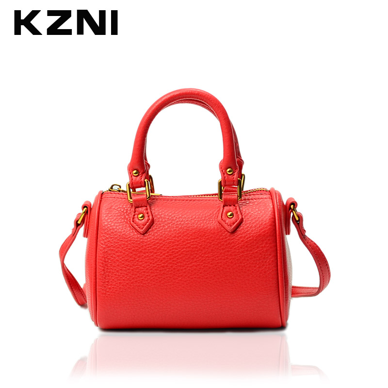KZNI Genuine Leather Crossbody Shoulder Clutch Women Bag Top-handle Tote Bags for Girls Fashion Small Black 1386 aosbos fashion portable insulated canvas lunch bag thermal food picnic lunch bags for women kids men cooler lunch box bag tote
