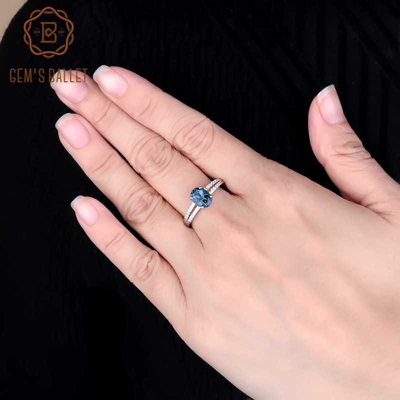 Gem's Ballet 1.57Ct Oval Natural London Blue Topaz Gemstone Ring 925 Sterling Silver Rings For Women Engagement Fine Jewelry
