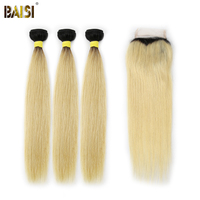 BAISI 3 Bundles with Closure Double Machine Weft Peruvian Virgin Hair Straight, 12 26inch Dark Root1B/#613 Color, Free Shipping