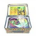 42 pçs/caixa Jogando Cartas Com Caixa de Metal Inglês Cartões Pop Jogo Pikachu Ir Cartão Aleatório Figuras Coleção Brinquedos para As Crianças presentes