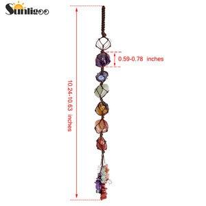 Image 4 - Sunligoo 7 Chakra Tumbled Gemstone Tassel Spiritual Meditation Hanging/Window/Feng Shui Ornament Reiki Stones Car/Home Decor
