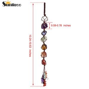 Image 4 - Sunligoo 7 Чакры, свисающие драгоценные камни, кисточка для духовной медитации, Висячие/оконные/Фэн шуй, декоративные камни для рейки, украшение для автомобиля/дома