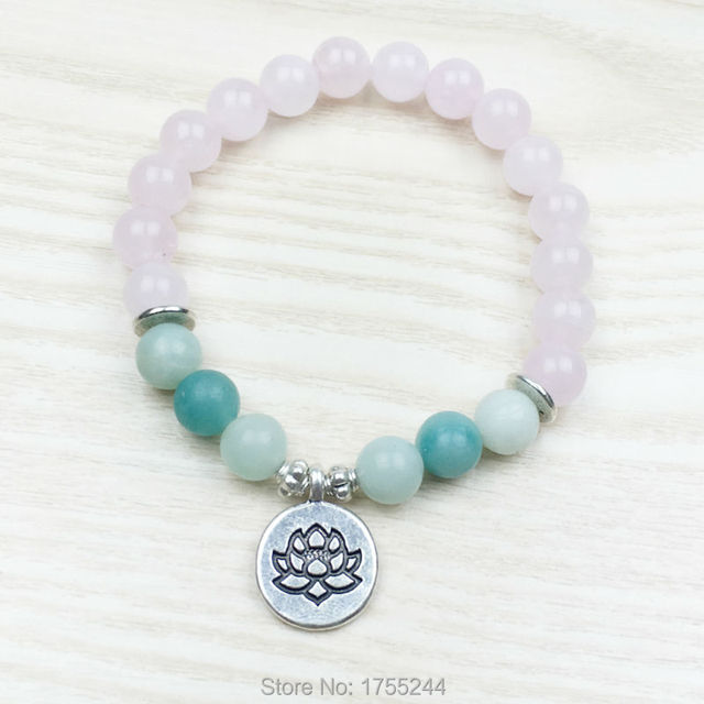 Sn1031 Trendy Lotus Women Bracelet Nature Rose Stone High Quality Ite Yoga Jewelry Healing