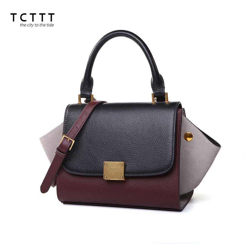 TCTTT Famous brand shoulder bags Genuine leather women crossbody Handbags Luxury designer Clutch Top-handle bag Bolsas Feminina hot sale 2016 france popular top handle bags women shoulder bags famous brand new stone handbags champagne silver hobo bag b075