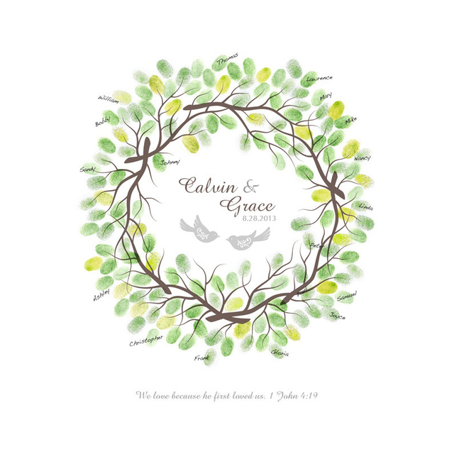 aliexpresscom buy 4556cm wedding fingerprint wreath