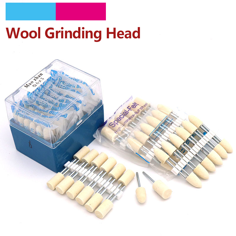 12pcs Wool Felt Mounted Polishing High Luminance- Buff Wheel Dremel Die Grinder Drill Rotary Tools Metal Surface Buffing Bits