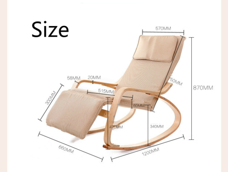 Купить с кэшбэком Simple Style Bent Wood Rocking Chair Household Balcony Lounge Stool Garden Deck Chair Solid Wood Stable Drop Resistance Chair