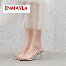 ENMAYLA  2019 New Arrival Women High Heel Sandals Basic Party Buckle Strap Shoes Summer Fashion Size 34-39 LY2101