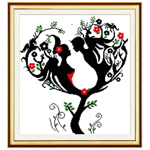 14ct42 45 Cm Diy Love Tree Pattern Hand Embroidery Cross Stitch