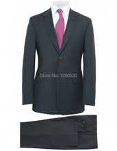 HOT SELLING 100% wool dark grey striped two buttons notch lapel two pieces( jacket+black )tailor made suits