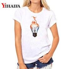 Women T-shirt 2019 Funny light bulb Graphic Tee 3D Print T Shirt Casual Short Sleeve Lady Fashion White T-shirts Unisex Tops