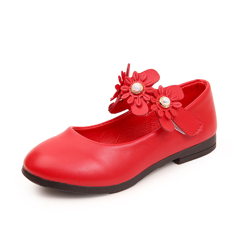 2T 3T 4T 5T 6T 7T 8T 9T Spring Autumn New Baby Girls Leather Shoe Flower Children Kids Shoes Student Dancing Party Shoe For Girl