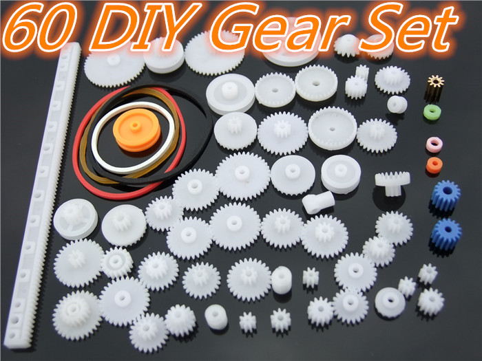 60pcs/lot K012b Plastic Gear Set DIY Rack Pulley Belt Worm Single Double Gears Sell At A Loss USA Belarus Ukraine flb12084 hamburg s new fashion backpack shoulder bag college wind backpack schoolbag shoulder bag personality
