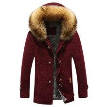 Men Fashion Parkas Winter Thick Warm Men's Jacket and Coats Casual Hooded Long Coat Outwears fur collar coat men Parka Coats