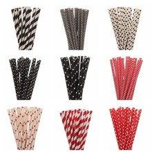 25pcs Red Black Paper Straws For Kids Birthday Wedding Decorative Event Party Supplies Environmental Creative Drinking Straws(China)