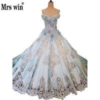 Digna Dusty Azul vestido de Baile Vestidos Strapless Recorte Projeto Beading Apliques Noble Train Lace Up vestido de Noiva Marrige Robe CustomC