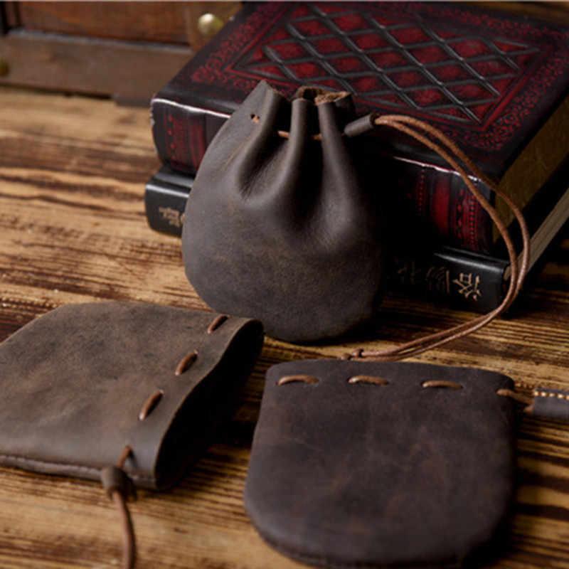 LEACOOL 2018 100% Handmade Do Vintage Couro Genuíno saco de Mini Bolsa Da Moeda Designer de Couro Dos Homens Das Mulheres Sacos de Pequena Moeda Criativo De Armazenamento