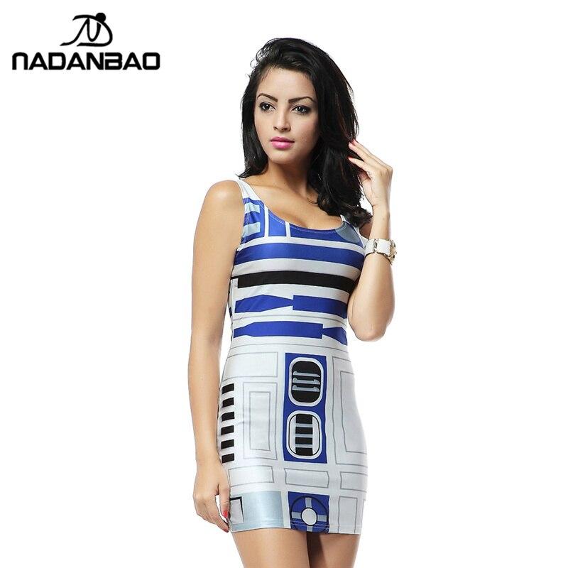 NADANBAO Verano Star Wars Artoo Nueva Impresión vendaje de Las Mujeres vestidos