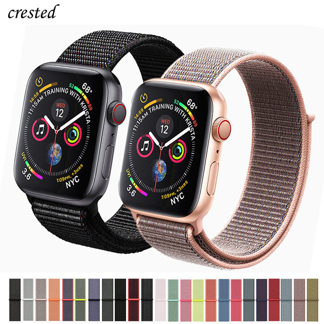 b85fe82a38b Nylon strap For Apple Watch band 42mm 38mm iWatch band 44mm 40mm Sport Loop  bracelet watch correa For apple watch 4 3 2 1 series-in Watchbands from  Watches ...