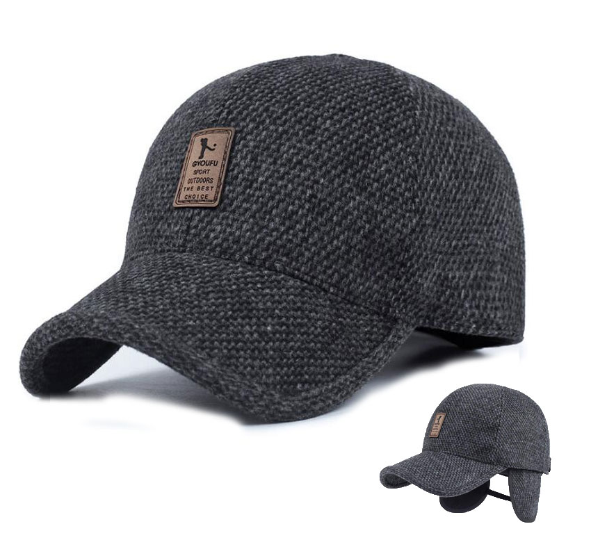 Mens Winter Baseball Caps Male Warm Wool Woolen Tweed Baseball Hat With Fold Earmuffs Warmer Earflaps For Men Adult Accessories