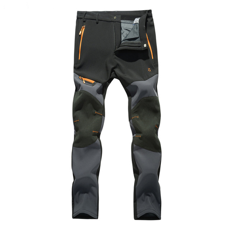 2018 Outdoor Softshell Pants Men Breathable Thermal Waterproof Hiking Trousers Brand Sports Camping Fleece Inside Pants RM043 outdoor softshell hiking pants men 5xl 6xl 7xl 8xl waterproof breathable bottoms male trekking sports large size trousers