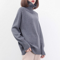 Women's High Korean Fashion Collar Cashmere Sweater Wool Autumn Winter Hot Thick Solid Color Pullover Clothes Women Tops Tmall