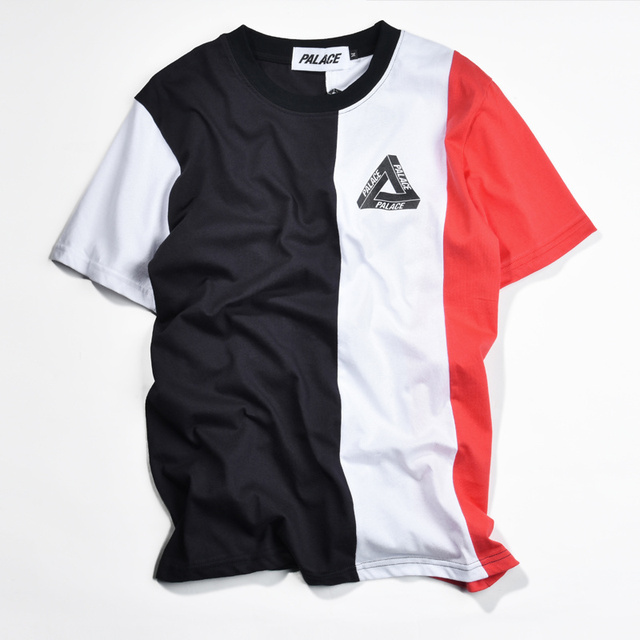 Palace T Shirt Men Hip Hop Fashion Skateboard VERTICAL TRI Stripe Palace Tide 1:1 High Quality Tee Shirt Kanye West Flag T-shirt