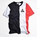 TRI palácio T Shirt Homens Hip Hop Moda Skate VERTICAL Stripe palácio Maré 1:1 Alta Qualidade Camiseta Kanye West T-shirt Da Bandeira