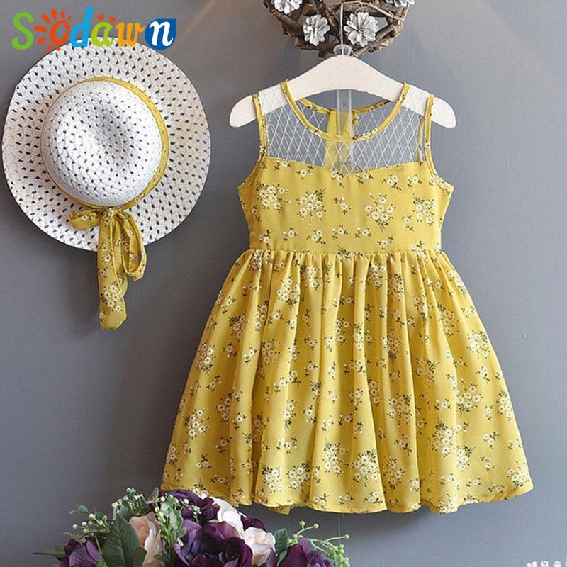Sodawn 2017 Girls Dress Summer New Flower Pattern Dress+Sun Hat Fashion Children Clothing Go out Girls Clothing Back bow waist