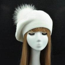 Зимний женский берет, женская шапка, 15 см, натуральный мех енота, помпон, берет, шерсть, кашемир, натуральный мех, шарик, женский берет, шапка для женщин