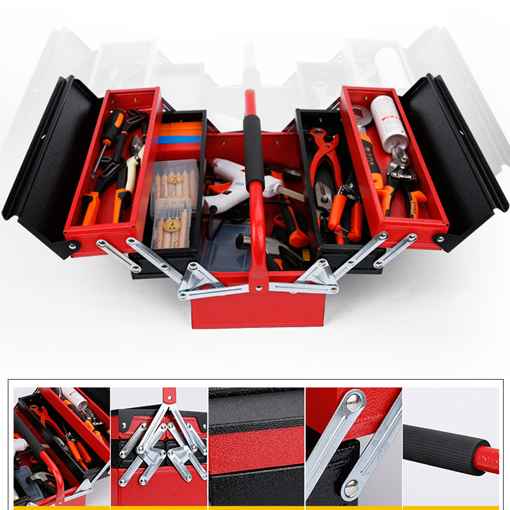 4-Tray&3-Layer Folding Iron Tools Organizer Box with Handle Multi-Functional Lock Hole Design Home Use Large Capacity Storage